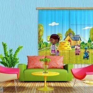 Ag Design Puolipimentävä Fotoverho Disney Dr.Mcstuffins 180x160 Cm