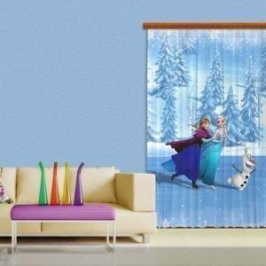 Ag Design Puolipimentävä Fotoverho Disney Ice Kingdom I 140x245 Cm