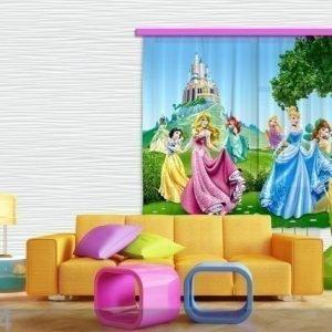 Ag Design Puolipimentävä Fotoverho Disney Princess 180x160 Cm