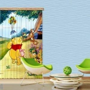 Ag Design Puolipimentävä Fotoverho Disney Winnie The Pooh 140x245 Cm