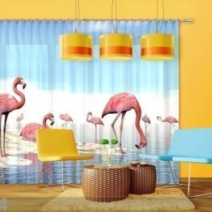 Ag Design Puolipimentävä Fotoverho Flamingos 280x245 Cm