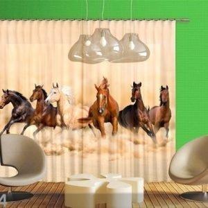 Ag Design Puolipimentävä Fotoverho Herd Of Horses 280x245 Cm