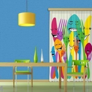Ag Design Puolipimentävä Fotoverho Spoons And Forks 140x245 Cm