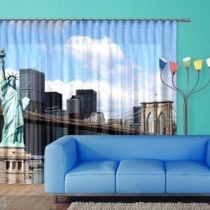 Ag Design Puolipimentävä Fotoverho Statue Of Liberty 280x245 Cm