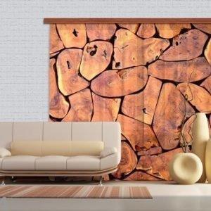 Ag Design Puolipimentävä Fotoverho Wood 280x245 Cm