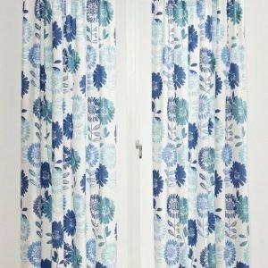 Flower Patch Sivuverhot 2-Pakkaus Sininen
