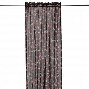 Hemtex Colleen Curtain W Head And Cha Verho Tummanharmaa 140x240 Cm