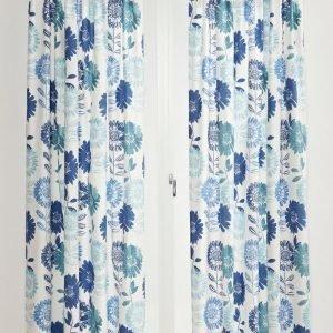 Jotex Flower Patch Sivuverhot Sininen 2-Pakkaus