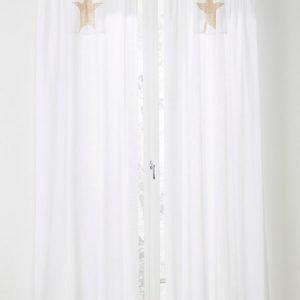 Jotex Kid Star Sivuverhot Valkoinen 2-Pakkaus