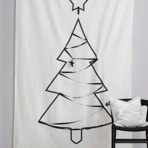 Jotex Outline Tree Seinäverho / Sivuverho Valkoinen