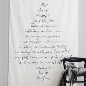 Jotex Text Seinäverho / Sivuverho Valkoinen