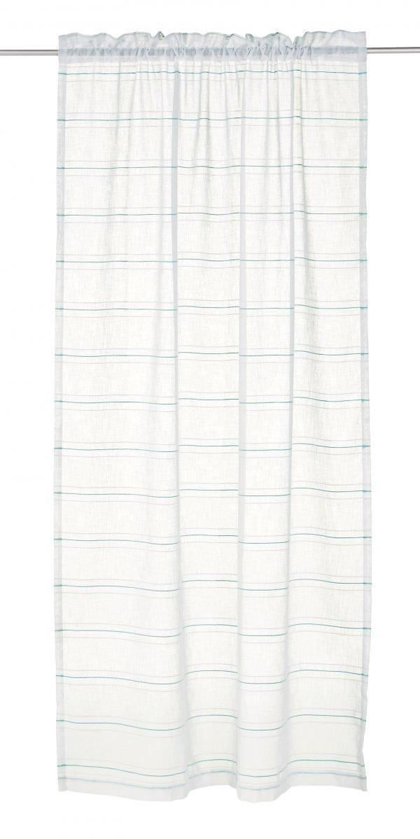 Koodi Stripe Verho Luonnonvalkoinen Aqua 2-Pakkaus