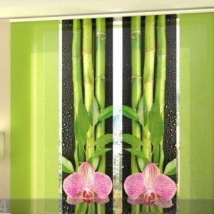 Wellmira Läpinäkyvä Paneeliverho Orchids And Bamboo 3
