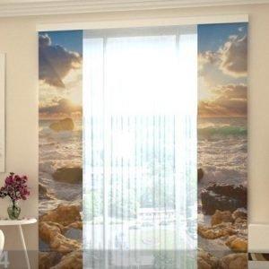 Wellmira Läpinäkyvä Paneeliverho Sea And Stones 80x240 Cm