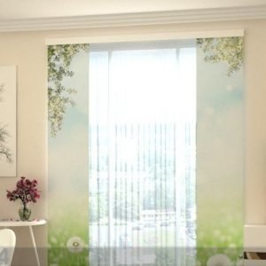 Wellmira Läpinäkyvä Paneeliverho White Dandelions 80x240 Cm