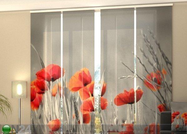 Wellmira Läpinäkyvä Paneeliverho Wild Poppies 240x240 Cm