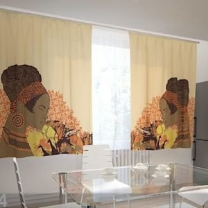 Wellmira Läpinäkyvä Verho African Motives 200x120 Cm