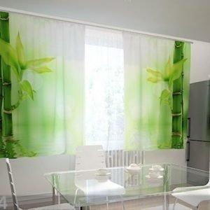 Wellmira Läpinäkyvä Verho Bamboo Leaves 200x120 Cm