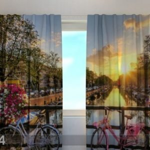 Wellmira Läpinäkyvä Verho Beautiful Sunrise Over Amsterdam 240x220 Cm