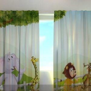 Wellmira Läpinäkyvä Verho Funny Animals 220x240 Cm