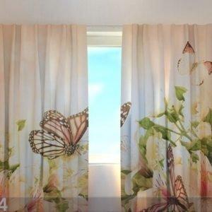 Wellmira Läpinäkyvä Verho Irises And Butterflies 220x240 Cm