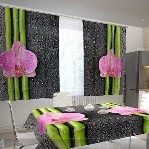 Wellmira Läpinäkyvä Verho Orchids And Bamboo 2