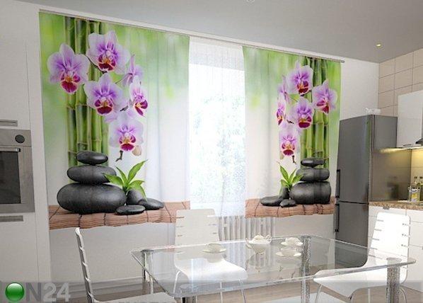 Wellmira Läpinäkyvä Verho Orchids And Stones In The Kitchen 200x120 Cm