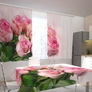 Wellmira Läpinäkyvä Verho Pink Bunch 200x120 Cm