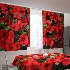 Wellmira Läpinäkyvä Verho Red Petunias 200x120 Cm