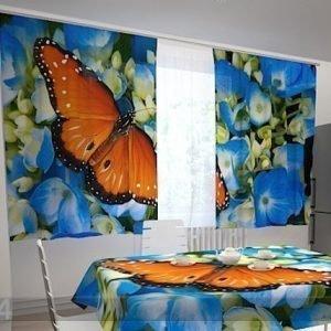 Wellmira Pimentävä Verho Butterfly On The Blue 200x120 Cm