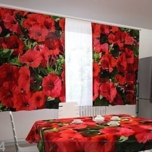 Wellmira Pimentävä Verho Red Petunias 200x120 Cm