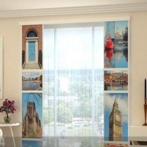 Wellmira Puolipimentävä Paneeliverho London Attractions 80x240 Cm
