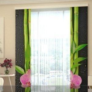 Wellmira Puolipimentävä Paneeliverho Orchids And Bamboo 80x240 Cm