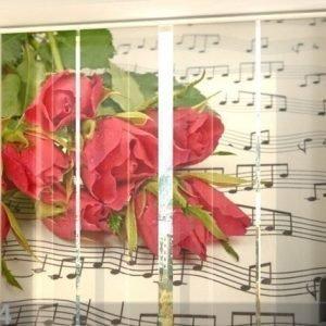 Wellmira Puolipimentävä Paneeliverho Roses And Notes 240x240 Cm