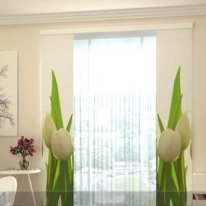 Wellmira Puolipimentävä Paneeliverho White Tulips 2