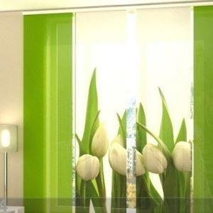 Wellmira Puolipimentävä Paneeliverho White Tulips 240x240 Cm
