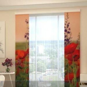 Wellmira Puolipimentävä Paneeliverho Wonderful Poppies 80x240 Cm