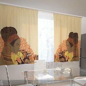 Wellmira Puolipimentävä Verho African Motives 200x120 Cm