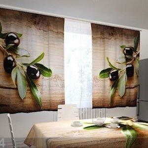 Wellmira Puolipimentävä Verho Black Olives In The Kitchen 200x120 Cm