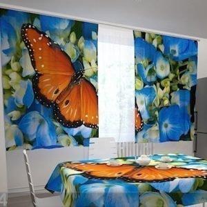 Wellmira Puolipimentävä Verho Butterfly On The Blue 200x120 Cm