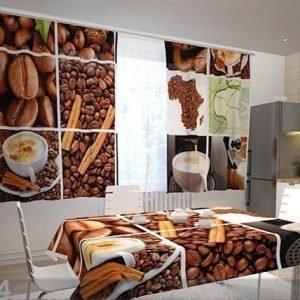 Wellmira Puolipimentävä Verho Coffee Africa 200x120 Cm