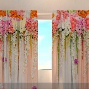 Wellmira Puolipimentävä Verho Flower Lambrequins Pink Spring 240x220 Cm