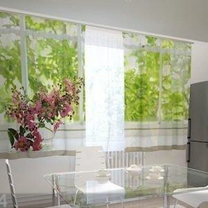 Wellmira Puolipimentävä Verho Flower On The Window Sill 200x120 Cm