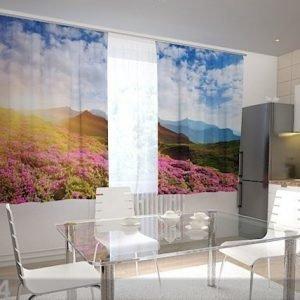 Wellmira Puolipimentävä Verho Flowers And Mountains 200x120 Cm