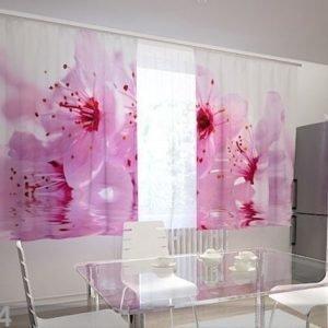 Wellmira Puolipimentävä Verho Flowers Cherry 200x120 Cm