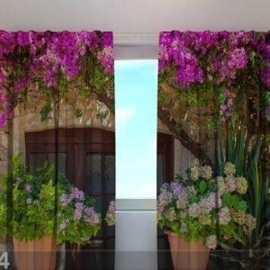 Wellmira Puolipimentävä Verho Flowers In Pots 240x220 Cm