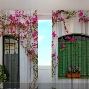 Wellmira Puolipimentävä Verho Flowers On The Window 240x220 Cm