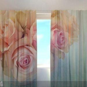 Wellmira Puolipimentävä Verho Gentle Roses 240x220 Cm