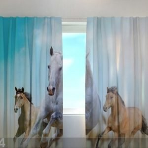Wellmira Puolipimentävä Verho Horses 240x220 Cm