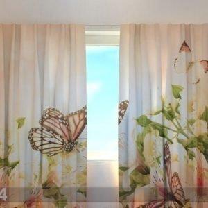 Wellmira Puolipimentävä Verho Irises And Butterflies 240x220 Cm